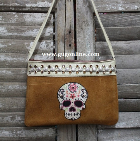 KurtMen Designs OL Light Brown Suede with Style A Sugar Skull, Ivory Band and Pink Swavorski Crystals
