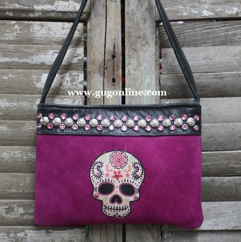 KurtMen Designs OL Purple Suede with Style A Sugar Skull and Pink Swavorski Crystals