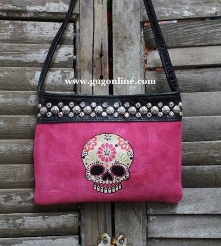 KurtMen Designs OL Pink Suede with Style B Sugar Skull and AB Swavorski Crystals