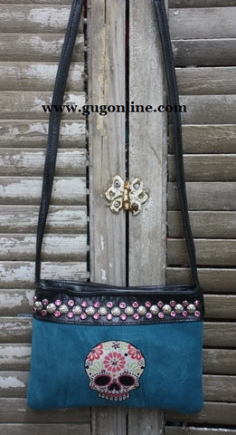 KurtMen Designs OL Blue Suede with Style B Sugar Skull and Pink Swavorski Crystals Long Strap