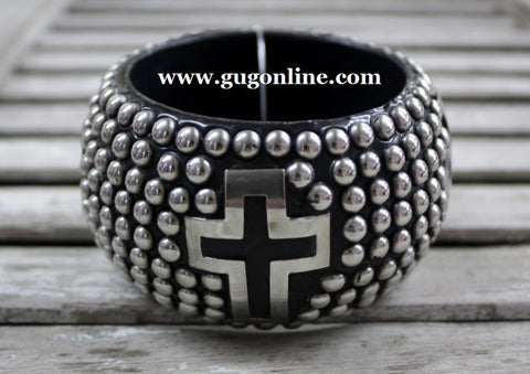 Black Studded Cut Out Cross Bracelet