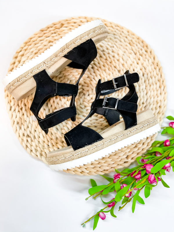 Coming In Hot Strappy Double Buckle Platform Sandals in Black Suede