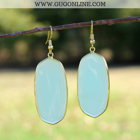 Oval Fashion Earrings in Clear Mint and Gold