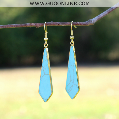 Gold Diamond Shaped Earrings with Dark Turquoise Inlay
