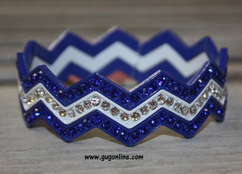Chevron Crystal Bangles in Blue and White