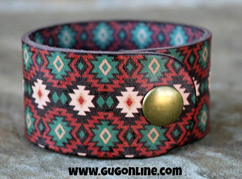 Aztec Leather Cuff Bracelet