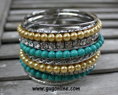 Champagne and Turquoise Bangle Set