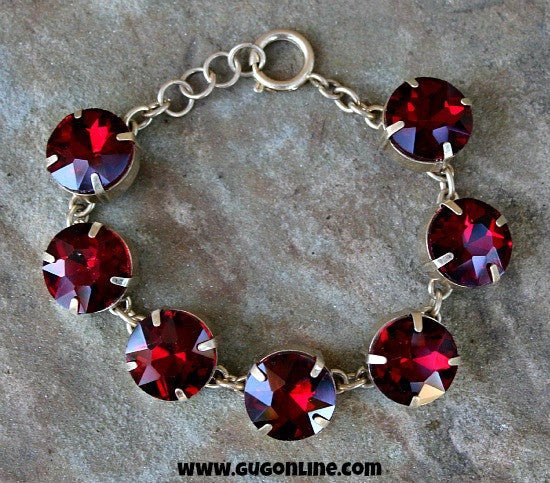 Large Maroon Crystals on Gold Chain Bracelet
