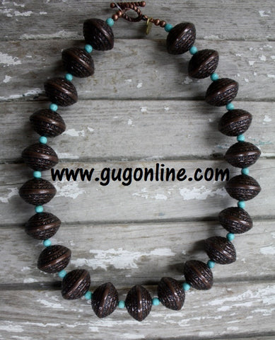 GUG Hand Strung Funky Copper Beaded Necklace with Turquoise
