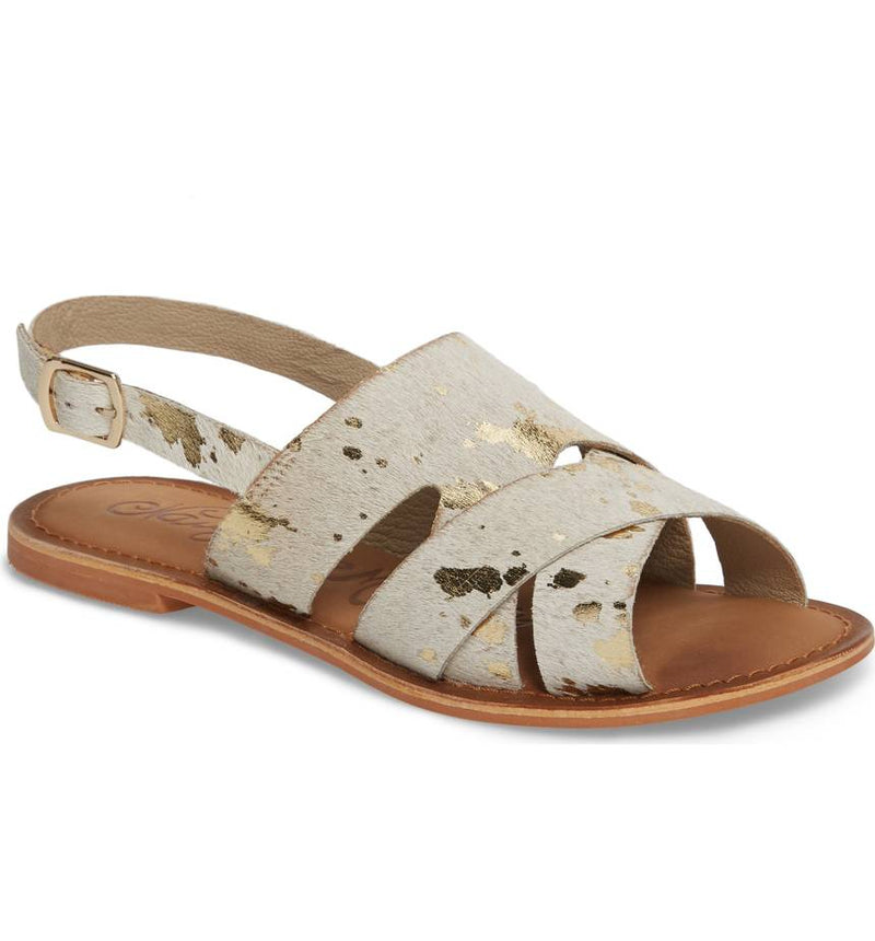 Cup of Tea Hair on Hide Sandal in White with Gold Acid Wash - sizes 6 and 8.5 left