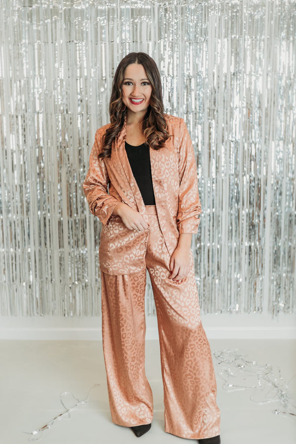 Money Moves Wide Leg Leopard Pants in Copper