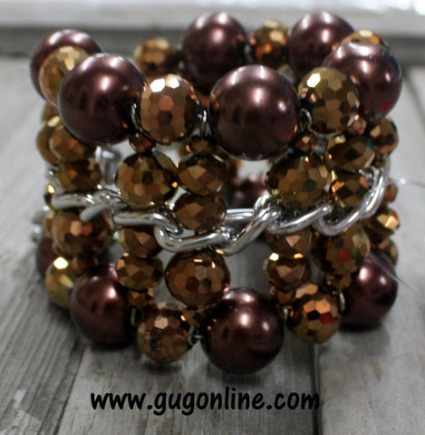 Bronze and Brown Crystal Beads on Silver Chain Bracelet