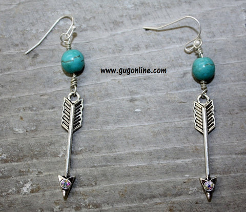 Arrow Earrings with Crystals and Turquoise and Silver