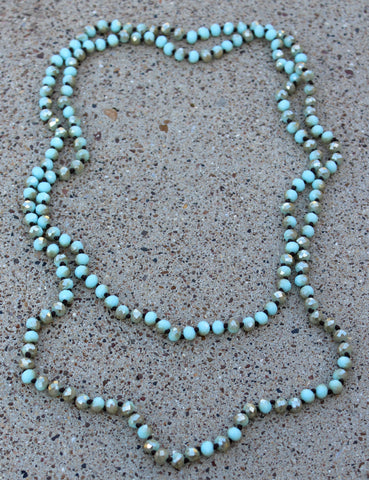 60 Inch Long Layering 8mm Crystal Strand Necklace in Mint and Mocha