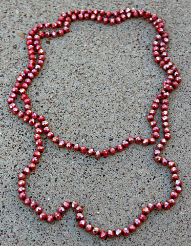 60 Inch Long Layering 8mm Crystal Strand Necklace in Bright Red AB