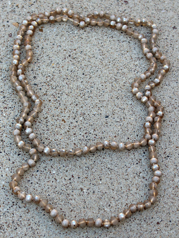 60 Inch Long Layering 8mm Crystal Strand Necklace in Champagne Druzy