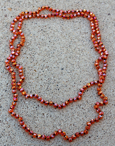 60 Inch Long Layering 8mm Crystal Strand Necklace in Clear Orange AB