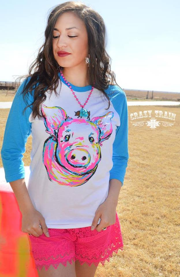 1d8e85f0c8554 Crazy Train Piggly Wiggly Baseball Tee in Turquoise – Giddy Up Glamour  Boutique