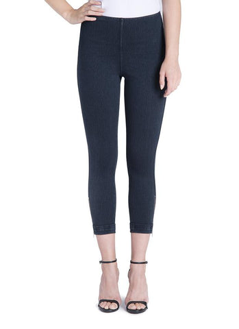 Lysse Denim Cuffed Capri Leggings with Side Zipper in Indigo Blue