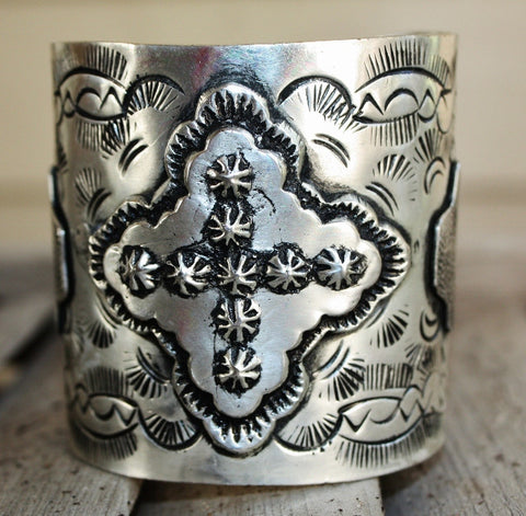 Aspen Silver Stacked Cross Cuff