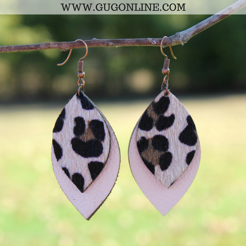 Layered Leopard Hair on Hide Leather Earrings in Ivory