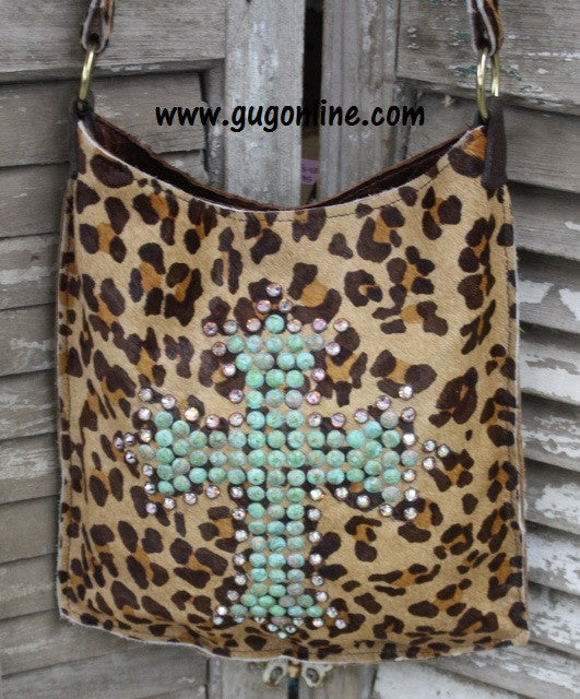 KurtMen Designs Cross Body Cheetah Print Hide With Turquoise and AB Crystal Cross