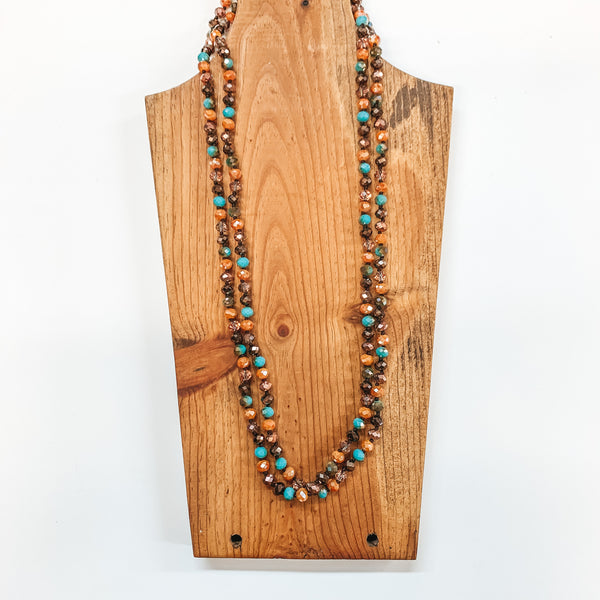 60 Inch Long 8mm Layering Crystal Strand Necklace in Brown, Bronze, Turquoise and Mustard
