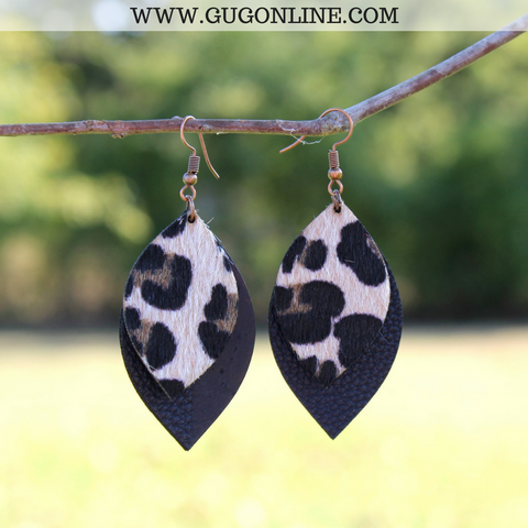 Layered Leopard Hair on Hide Leather Earrings in Black