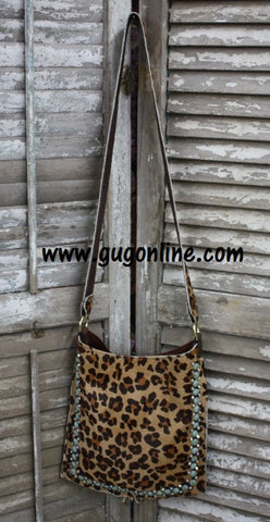 KurtMen Designs Cross Body Cheetah Print Hide With Turquoise and AB Crystal Trim