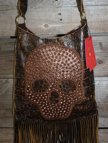 KurtMen Designs Cross Body Antiqued Croc Body with Fully Crystallized Skull and Fringe