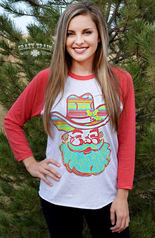 Southern Santa Red Baseball Christmas Tee