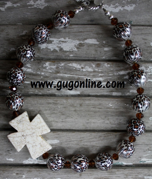 Chunky Stone Necklaces Cheetah Leopard Cross