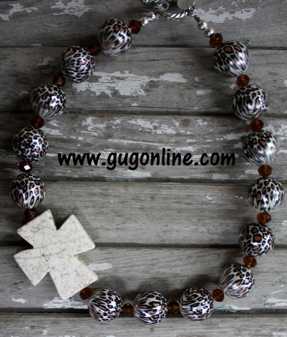 GUG Hand Strung Cheetah Print Beads Surround a White Side Cross