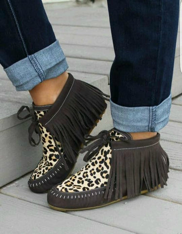 Brown and Cheetah Fringe Moccasins