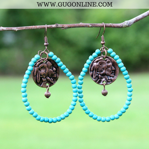 Beaded Turquoise Teardrop Earrings with Worn Copper Native American Charm