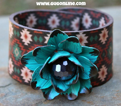Aztec Leather Cuff Bracelet with Turquoise Flower
