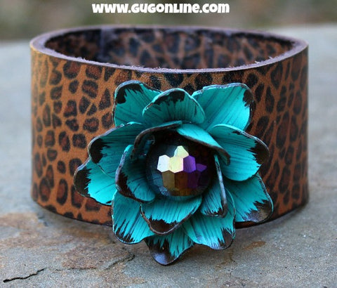 Cheetah Leather Cuff Bracelet with Turquoise Flower