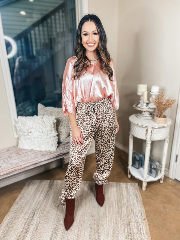 Flirting With Fate Drawstring Leopard Pants with Adjustable Ankles in Beige