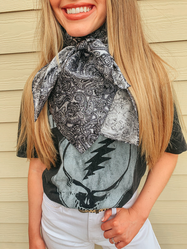 Paisley Wild Rag in Black and Silver
