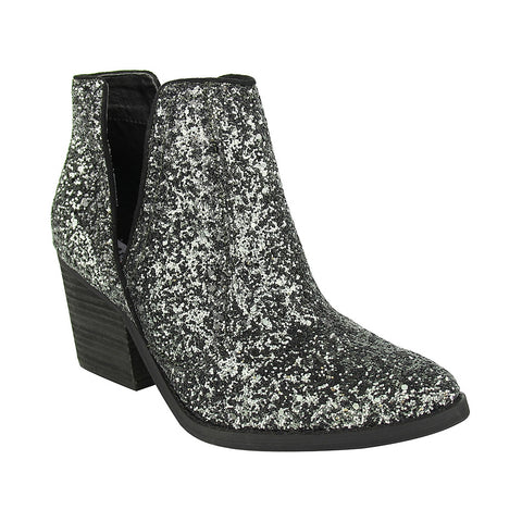 Firefly Deep V Cut Glitter Booties in Charcoal