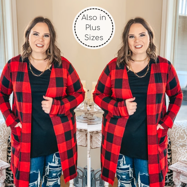 Call You Mine Buffalo Plaid Long Sleeve Cardigan with Pockets in Red