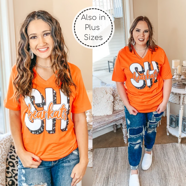 Bearkat Game Day | Star Print TX Bearkats Short Sleeve Tee Shirt in Orange