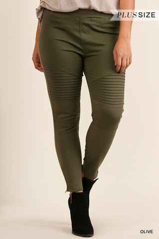 Downright Darling Moto Jeggings in Olive Green