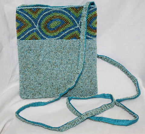 Fancy Turquoise, Lime, and Brown Beaded Cross Body Purse