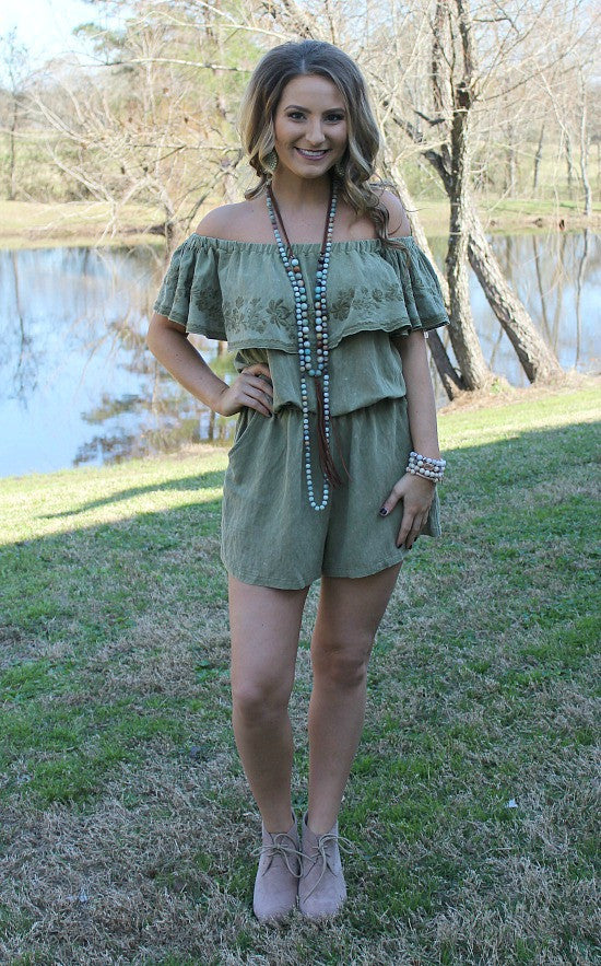 One To Remember Floral Embroidery Off Shoulder Romper in Olive