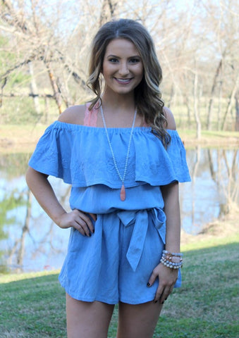 One To Remember Floral Embroidery Off Shoulder Romper in Blue