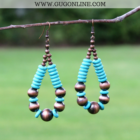 Copper and Turquoise Bead Hoop Earrings