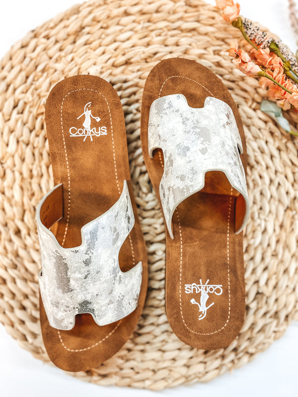 Corky's | Bogalusa Metallic Wash Flat Slide On Sandals in White
