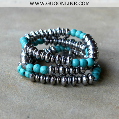 Three Strand Silver Beaded Bracelet with Turquoise Accents