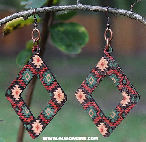 Aztec Leather Diamond Cut Out Earring